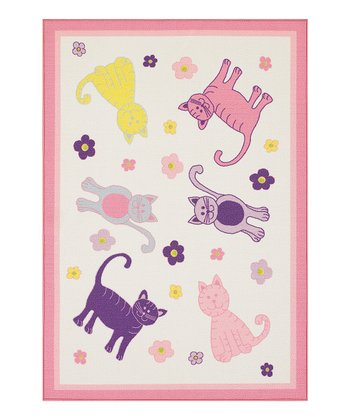 Pink Cats Fun Time Rug