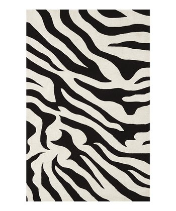 Black Zebra Safari Rug