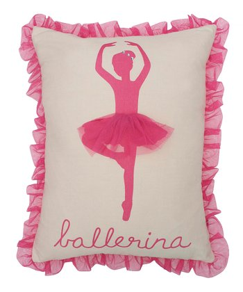 Pink & Ivory Ballerina Silhouette Throw Pillow