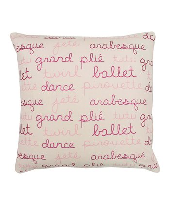 Pink Ballerina Words Throw Pillow
