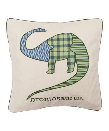 Blue & Green Brontosauraus Throw Pillow