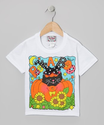 White & Orange 'Peek-A-Boo!' Kitty Tee - Toddler & Girls