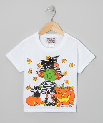 White & Green Zebra Witch Tee - Toddler & Girls