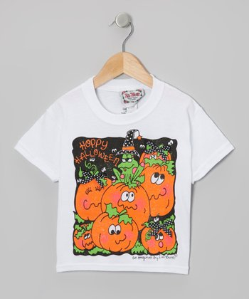 White & Orange 'Hoppy Halloween' Tee - Toddler & Girls
