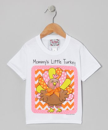 White & Pink 'Mommy's Little Turkey' Tee - Toddler & Girls