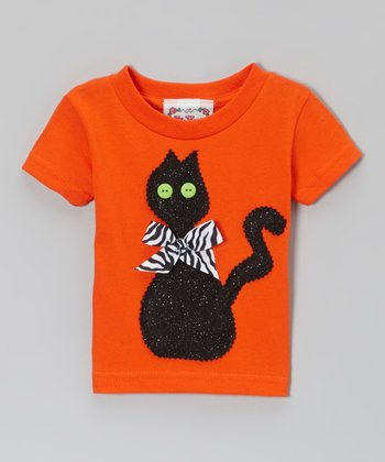 Orange & Black Cat Tee - Infant & Girls