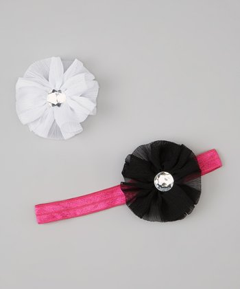 Hot Pink & Black Headband & Chiffon Flower Clip Set