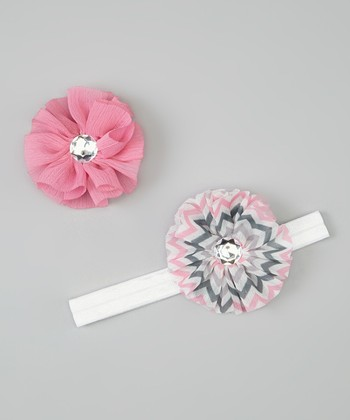 Pink & White Zigzag Headband & Chiffon Flower Clip Set