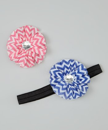 Pink & Blue Zigzag Headband & Chiffon Flower Clip Set