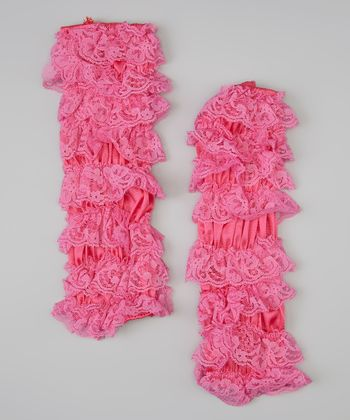 Hot Pink Lace Ruffle Leg Warmers
