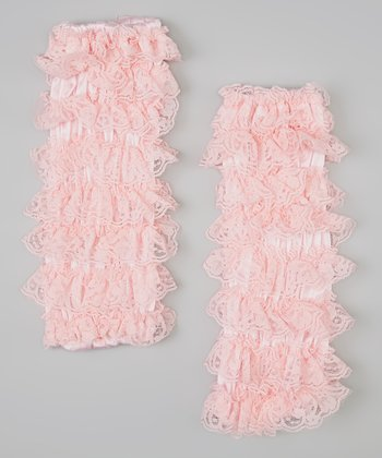 Light Pink Lace Ruffle Leg Warmers