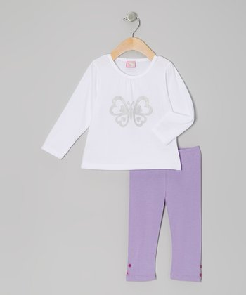 White Butterfly Tunic & Purple Leggings