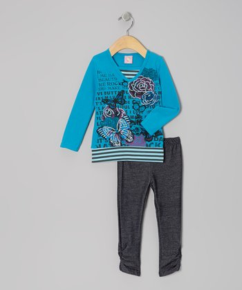 Blue Butterfly Rose Tunic & Black Leggings