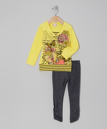 Yellow Butterfly Rose Tunic & Black Leggings