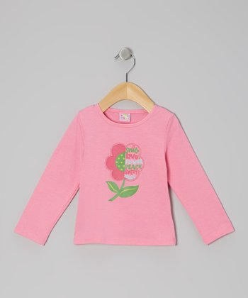 Pink Peace Flower Long-Sleeve Tee