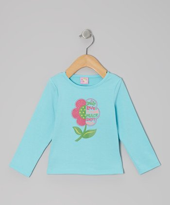 Turquoise Peace Flower Long-Sleeve Tee