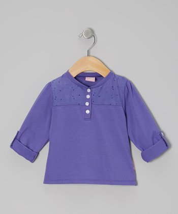 Purple Long-Sleeve Lace Henley