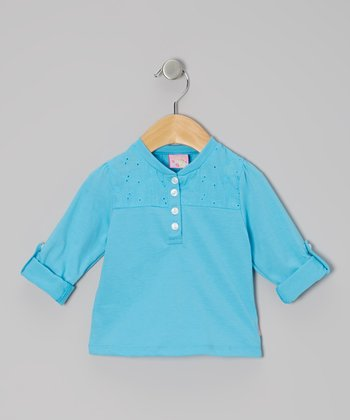 Turquoise Long-Sleeve Lace Henley