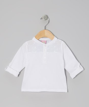 White Long-Sleeve Lace Henley