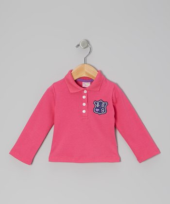 Pink Anchor Crest Long-Sleeve Polo - Infant