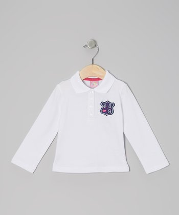 White Anchor Crest Long-Sleeve Polo - Infant