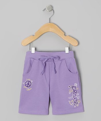 Purple 'Peace' Knit Shorts