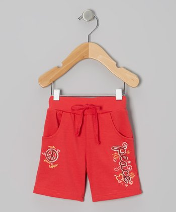 Red 'Peace' Knit Shorts