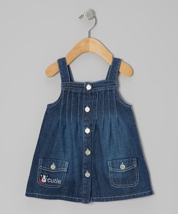 Denim 'Cutie' Cat Button-Up Dress - Infant