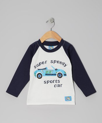 Blue & White 'Super Speedy' Raglan Tee