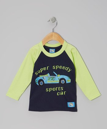 Blue & Yellow 'Super Speedy' Raglan Tee