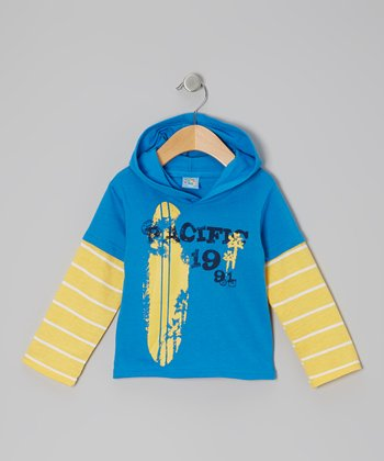 Blue & Yellow 'Pacific 1991' Long-Sleeve Hooded Tee