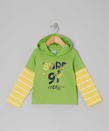 Green & Yellow 'Surf 91 Pacific' Long-Sleeve Hooded Tee