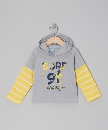 Gray & Yellow 'Surf 91 Pacific' Long-Sleeve Hooded Tee