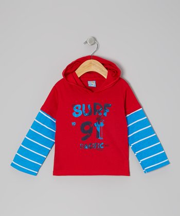 Red & Blue 'Surf 91 Pacific' Long-Sleeve Hooded Tee - Infant