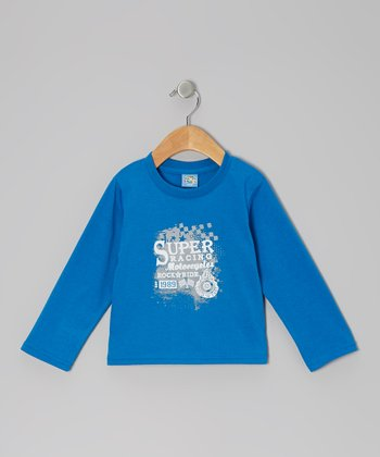 Blue 'Super Racing Motorcycles' Long-Sleeve Tee - Infant