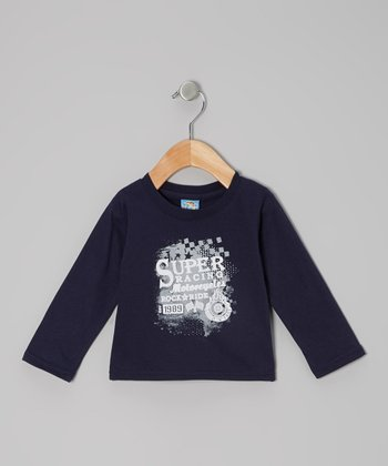 Navy 'Super Racing Motorcycles' Long-Sleeve Tee - Infant