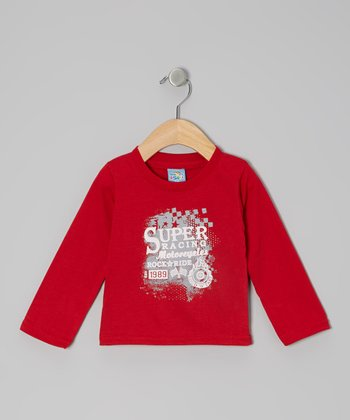 Red 'Super Racing Motorcycles' Long-Sleeve Tee - Infant
