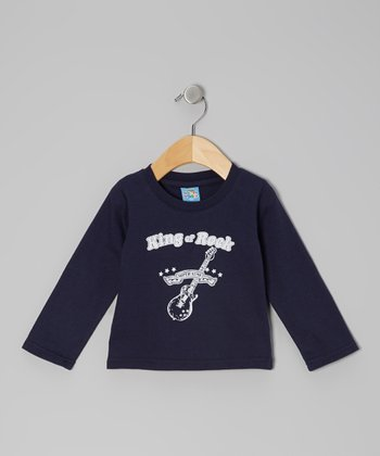 Navy 'King of Rock' Long-Sleeve Tee
