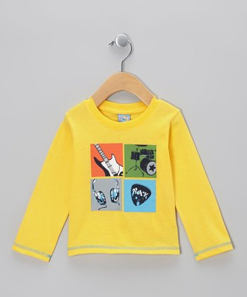 Yellow Four Square 'Rock' Long-Sleeve Tee