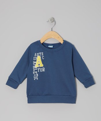 Blue 'A for Athletic' Pullover Sweatshirt - Infant
