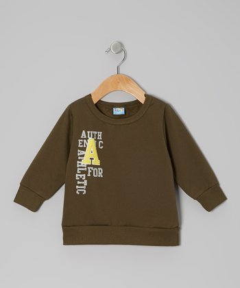 Green 'A for Athletic' Pullover Sweatshirt - Infant
