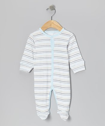 White & Sky Blue Stripe Footie - Infant