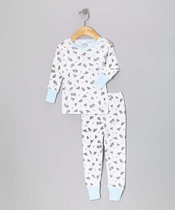 Sky Blue Trucks Pajama Set - Toddler & Kids