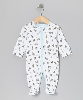 White & Sky Blue Trucks Footie - Infant