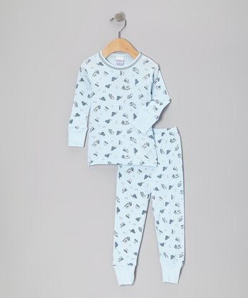 Sky Blue Trucks Pajama Set - Infant