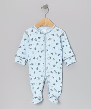 Sky Blue Trucks Footie - Infant