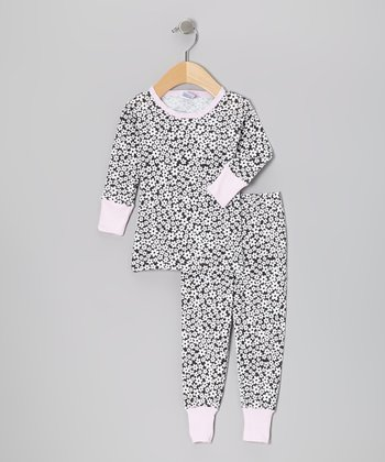 Black & Pink Daisy Pajama Set - Infant & Toddler