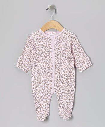 Tan & Pink Leopard Footie - Infant