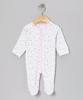 White & Pink Bouquet Footie - Infant