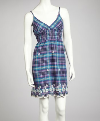 Blue Plaid Surplice Dress